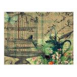 Vintage Collage w/Bird & Birdcage Garden Postcard