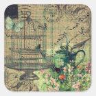 Vintage Collage w/Bird & Birdcage Garden Square Sticker