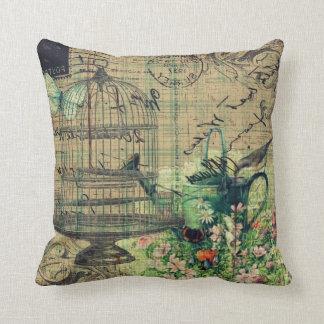 Vintage Collage w/Bird & Birdcage Garden Throw Pillow