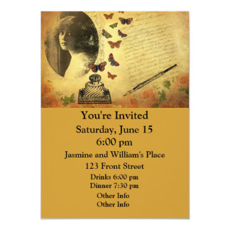 Vintage Collage Woman Writer and Butterflies 5x7 Paper Invitation Card
