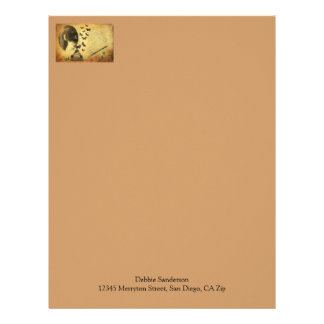 Vintage Collage Woman Writer and Butterflies Letterhead
