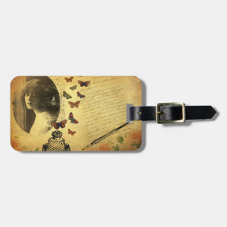Vintage Collage Woman Writer and Butterflies Tag For Bags
