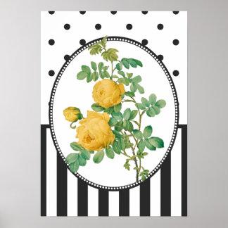 Vintage Collage Yellow Roses Botanical Print