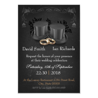 """Vintage Collapsibles top Hats on chalkboard Invitación 3.5"""" X 5"""""""