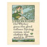 Vintage Colleen Spring Shamrock St Patrick's Day Post Card