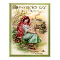 Vintage Colleen St Patrick's Day Card Post Card