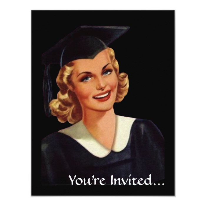 Vintage College Co-Ed Graduation Woman Card