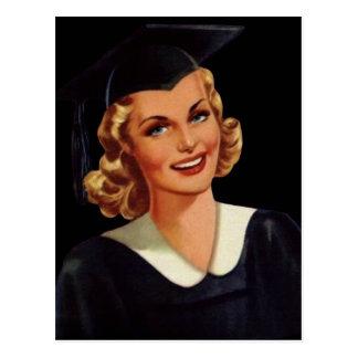 Vintage College Co-Ed Graduation Woman Postcard