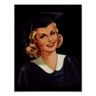 Vintage College Co-Ed Graduation Woman Poster
