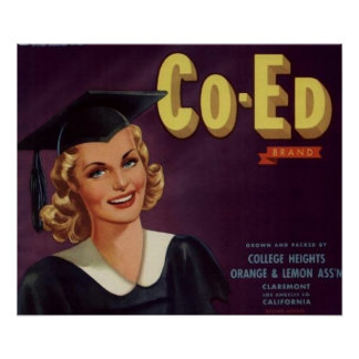 Vintage College Co-Ed Graduation Woman Posters