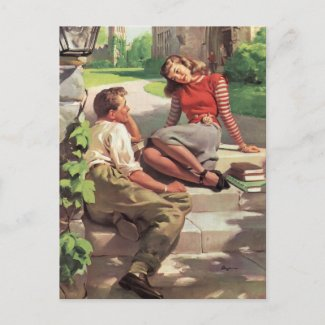 Vintage College Coeds in Love postcard