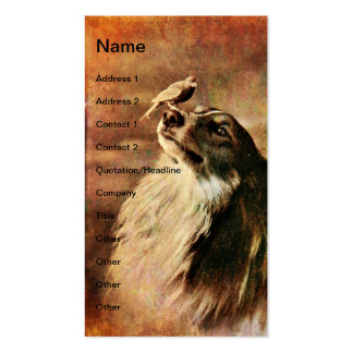 Vintage Collie and Bird Business Card