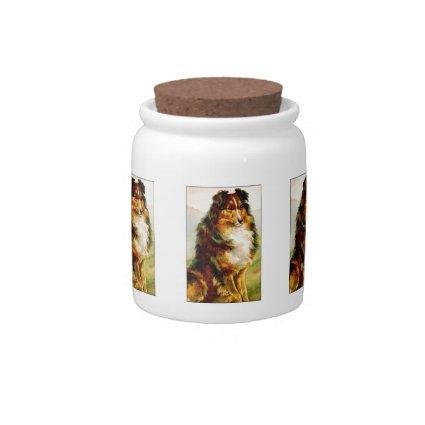 Vintage Collie Dog Candy Jars