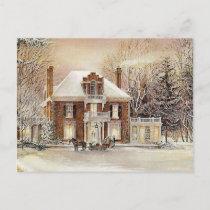 Vintage Colonial Christmas Holiday Postcard