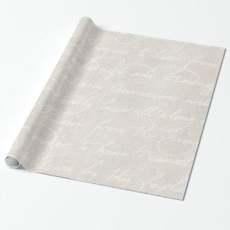 Vintage Colonial Cream Beige Text Parchment Paper Gift Wrap