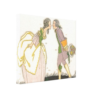 Vintage Colonial Kiss Stretched Canvas Print