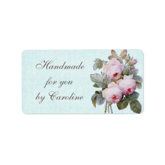 Vintage color de rosa inglés botánico etiquetas de dirección