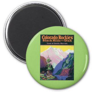 Vintage Colorado Black Hills Imán Redondo 5 Cm