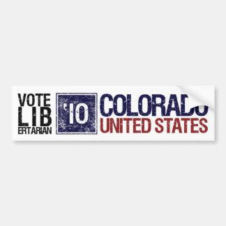 Vintage Colorado del libertario del voto en 2010 - Pegatina De Parachoque