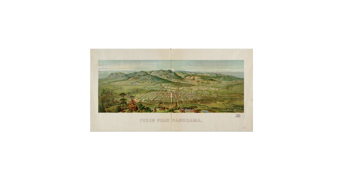 Vintage colorado springs and pikes peak map 1890 poster for T shirt printing in colorado springs