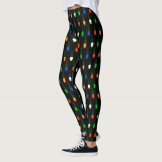 Vintage Colored Christmas Lights Novelty Holiday Leggings