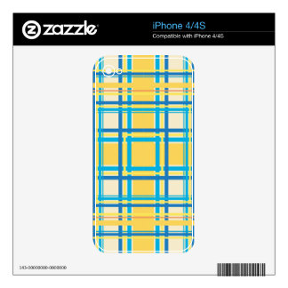 Vintage Colorfl Fashion Striped Square Pattern 2 Skins For The iPhone 4S
