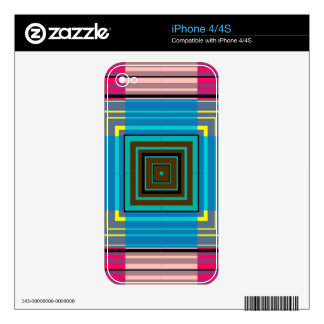 Vintage Colorfl Fashion Striped Square Pattern Skins For iPhone 4