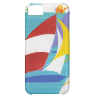 Vintage Colorful Abstract Sailboats in Water iPhone 5C Cover