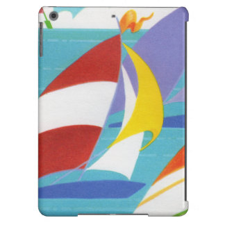 Vintage Colorful Abstract Sailboats in Water iPad Air Cases