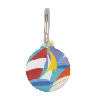 Vintage Colorful Abstract Sailboats in Water Pet ID Tag