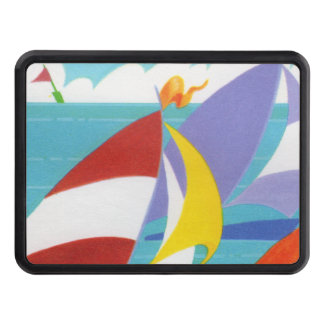 Vintage Colorful Abstract Sailboats in Water Trailer Hitch Cover