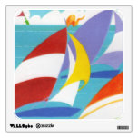 Vintage Colorful Abstract Sailboats in Water Wall Stickers