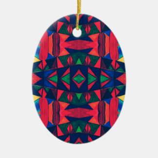 Vintage Colorful Aztec Design Ceramic Ornament