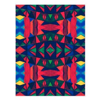Vintage Colorful Aztec Design Postcard