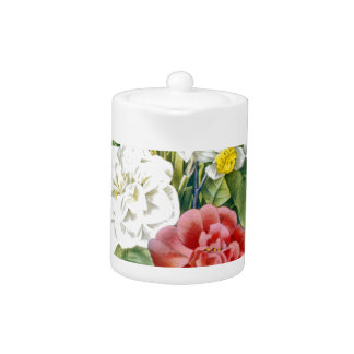 vintage colorful botanical flowers by Redoute. Teapot