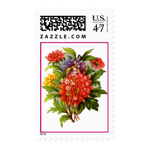 Vintage Colorful Bouquet Postage Stamps