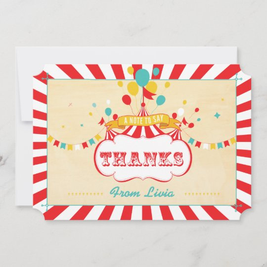 Vintage Colorful Carnival Thank You Cards Zazzle Com