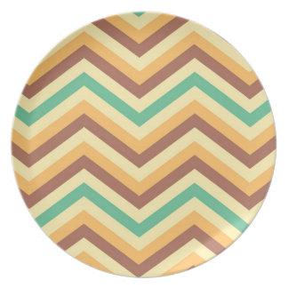 Vintage colorful chevron stripes pattern melamine plate