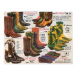 Vintage Colorful Cowboy Boots & Moccasins Postcards