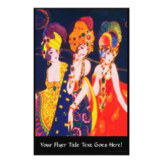 """Vintage Colorful Deco Women with Jewelry 5.5"""" X 8.5"""" Flyer"""