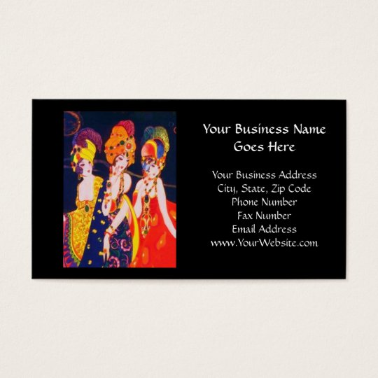 Vintage Colorful Deco Women with Jewelry Business Card