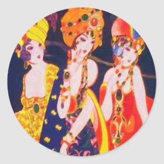Vintage Colorful Deco Women with Jewelry Classic Round Sticker
