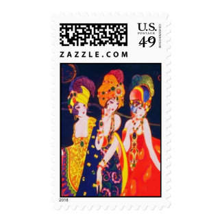 Vintage Colorful Deco Women with Jewelry Postage
