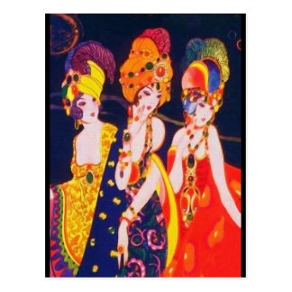 Vintage Colorful Deco Women with Jewelry Post Card