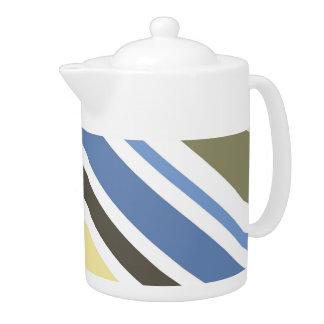 Vintage Colorful Diagonal Stripes Art Teapot