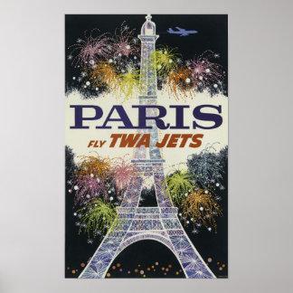Vintage colorful fireworks Paris Tour Eiffel night Poster