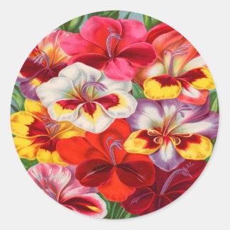 Vintage Colorful Gladiola Garden Sticker