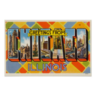 Vintage Colorful Greetings From Chicago Illinois Poster