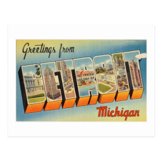 Vintage Colorful Greetings From Detroit Michigan Postcard