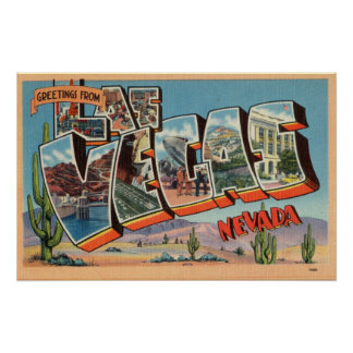 Vintage Colorful Greetings From Las Vegas Nevada Poster